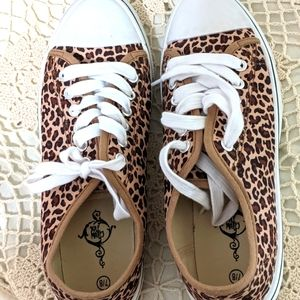 2/$10 Animal print lace up sneakers